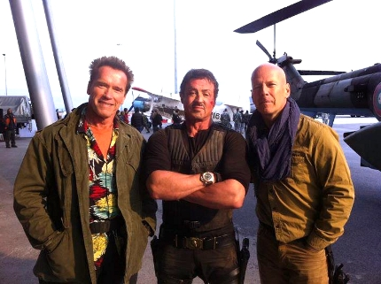 Arnold, Sly, and Bruce in The Expendables 2