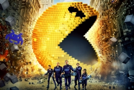 "Adam Sandler, Kevin James, Josh Gad, and Michelle Monaghan in ""Pixels"""